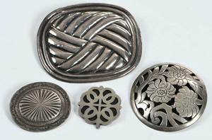 Four Silver Brooches
