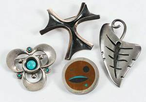 Four Sterling Brooches