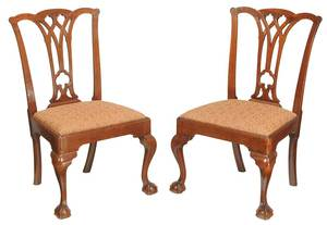 Pair Pennsylvania Chippendale Mahogany Chairs