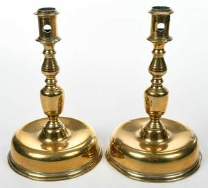 A Very Fine Pair Early Brass Candlesticks