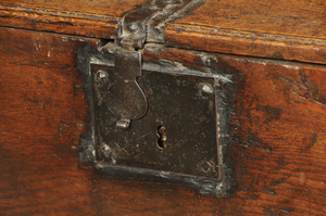 Early Carved Oak Miniature Lift Top Chest