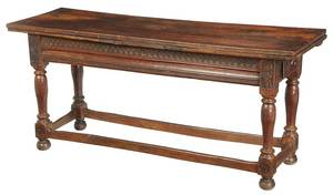 Baroque Carved Walnut Draw-Leaf Library Table