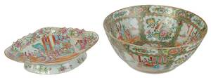 Rose Medallion Punch Bowl and Fruit Bowl