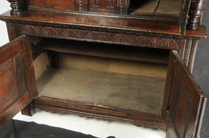 Early English Carved Oak Court Cupboard