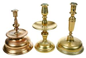 Three Early Brass and Bellmetal Candlesticks