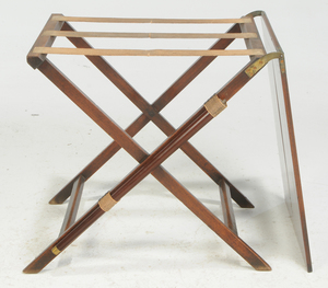 Brass Mounted Mahogany Campaign Tray on Stand