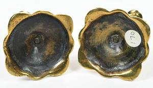 Rare Pair George III Brass Tapersticks
