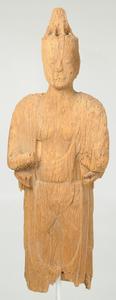 Rare Early Japanese Carved Wood Bodhisattva