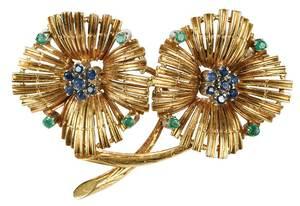 18kt. Sapphire & Emerald Brooch
