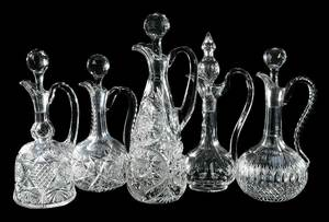 Five Cut Glass Handled Decanters