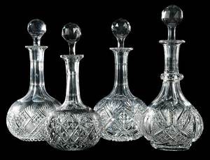 Four Cut Glass Decanters, Dorflinger