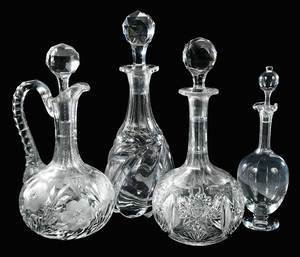 Four Cut Glass Decanters, Baccarat, Jewell