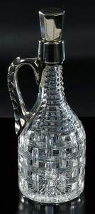 Cut Glass Whiskey Jug Sterling Handle, Stopper