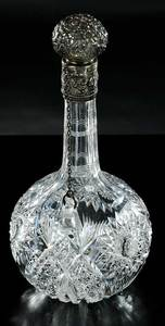 Cut Glass Hawkes Sterling Chain Decanter