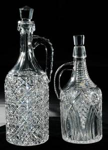 Two Cut Glass Demijohns Whiskey Jug