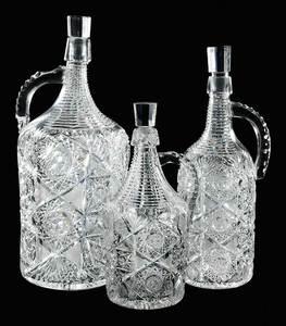 Three Cut Glass J. Hoare Demijohns