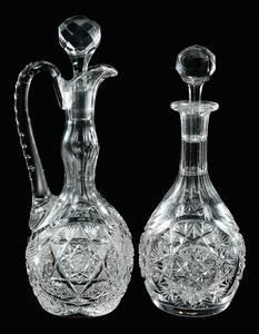 Two Cut Glass Decanters, Quaker City, Meridan