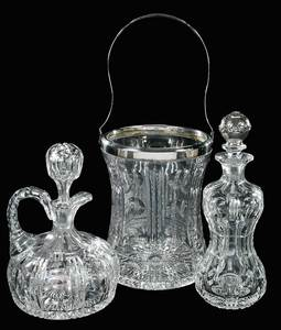 Cut Glass Pairpoint Decanters, Ice Bucket