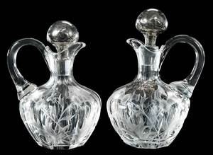 Pair Cut Glass Scottish Whiskey Decanters