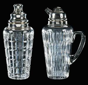 Two Hawkes Cut Glass Cocktail Shakers