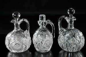 Three J. Hoare Cut Glass Whiskey Jugs