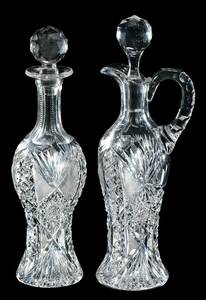 Pair Cut Glass Cordial Decanters