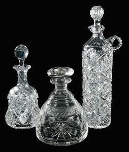 Three Cut Glass Decanters, Including Dorflinger