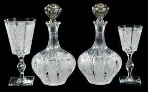 Pair Cut Glass Hawkes Decanters, Kohinoor, Stems