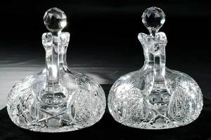 Pair J. Hoare Ships Decanters