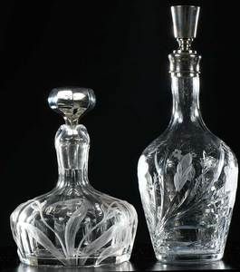 Cut Glass Ships Decanter, Hawkes Decanter, Stems