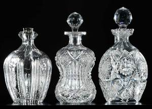 Two Cut Glass Whiskey Jugs, Decanter