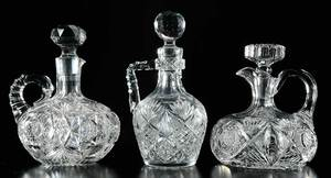 Three Handled Cut Glass Whiskey Decanters