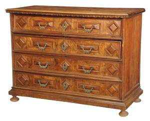 Italian Baroque Figured Walnut Chest