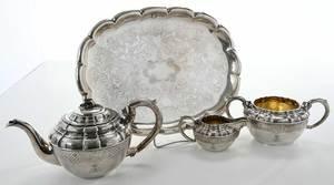 Three Piece Austrian Silver Tea Service, Tray