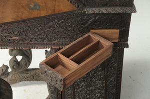 Anglo-Indian Carved Teak Davenport Desk, Chair