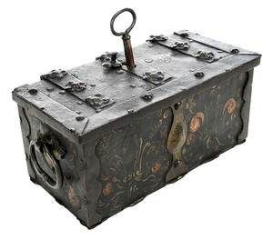 German Painted Iron Puzzle Lock Strong Box