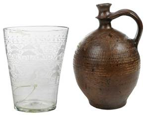 Early Slipware Jug and Etched Flip Glass