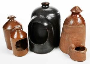 Three Ceramic Chicken Waterers