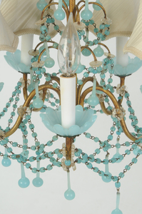 Pale Blue Milk Glass Beaded Chandelier