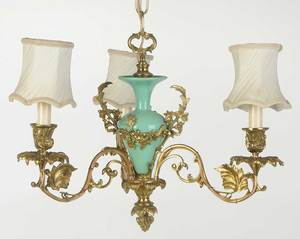 Art Nouveau Gilt Brass Chandelier