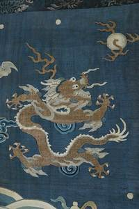 Chinese Silk Tapestry Dragon Panel