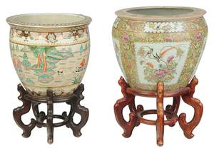 Two Large Chinese Enamel Decorated Fish Bowls