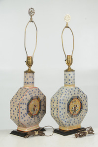 Two Similar Chinese Hexagonal Moon Flask Lamps