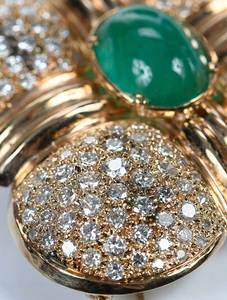 14kt. Emerald & Diamond Brooch