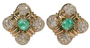 14kt. Diamond & Emerald Earrings