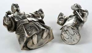 Two Japanese Silver Plated Figures
