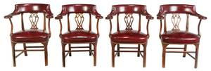 Set Four Red Leather Upholstered Armchairs