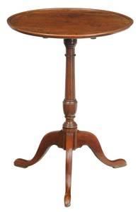 George III Walnut Dish Top Candlestand
