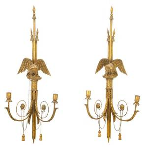 Pair Federal Style Carved Gilt Eagle Sconces