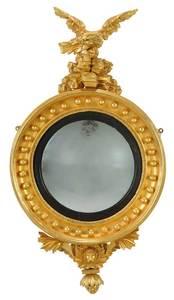 Regency Carved Gilt Wood Eagle Convex Mirror